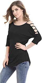 Mooncolour Women's Casual Loose Hollowed Out Shoulder 3/4 Sleeve Shirts Tops