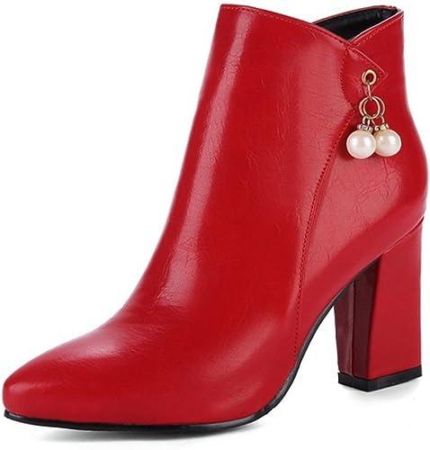 Zrf cómodo Antideslizante botas de Moda de Punta Estrecha Martin botas de Novia de tacón Alto de otoño e Invierno Resistente al Calor (Color   rojo, Tamaño   38)