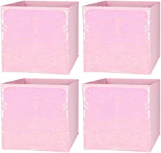 Foldable Sequin Storage Basket Bin Closet Organizer Cubes Boxes for Nursery Home Drawer Organizer Clothes (4pcs, Pink)