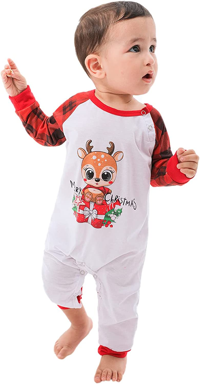 Christmas Pajamas for Family,Family Christmas Pjs Matching Sets Winter Long Sleeves Fawn Print Holiday Sleepwear Homewear