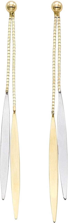14K Yellow & White Gold Earrings, Push Back Clasp