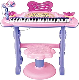 BOYA-TOYS Piano pink Musical Multifunction Electronic Keyboard with Bench and Microphone Stand set for Girl, colorful ligh...