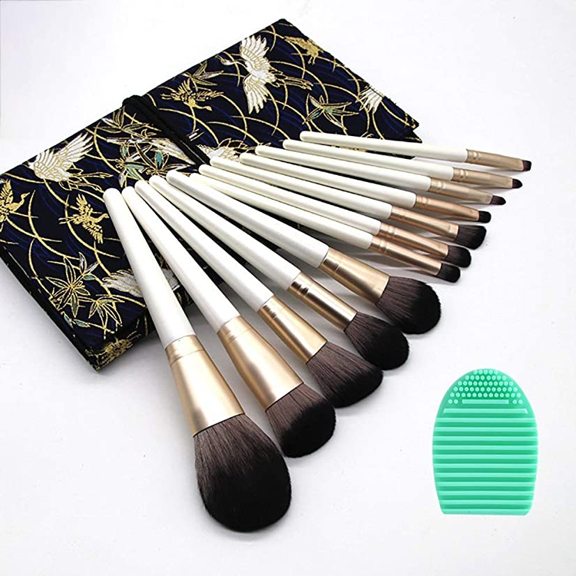 ブレース削減約束するDUOBI メイクブラシ 化粧筆 化粧ブラシ 最高級のメイクペンセット 超柔らかいメイクブラシ 12本セット 精巧な刺繍の布袋