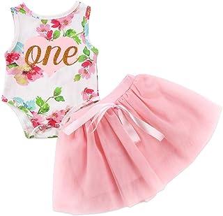 T TALENTBABY Neugeborenes Baby Mädchen 1. Geburtstag Outfit Kleinkind Kinder Brief Eins Gedruckt Floral Strampler Bowknot Tutu Party Rock Prinzessin Kleid 2 Stück Set