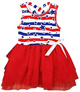 LOTUCY Infant Girls 4th of July American Flag Dress Clothes Sleeveless Star Stripe Tulle Dress