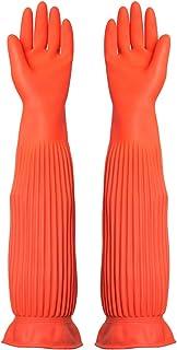 使い捨て手袋 労働保険手袋長い防水ゴム厚の耐摩耗性ゴム手袋、1ペア ニトリルゴム手袋 (Color : ORANGE, Size : M)