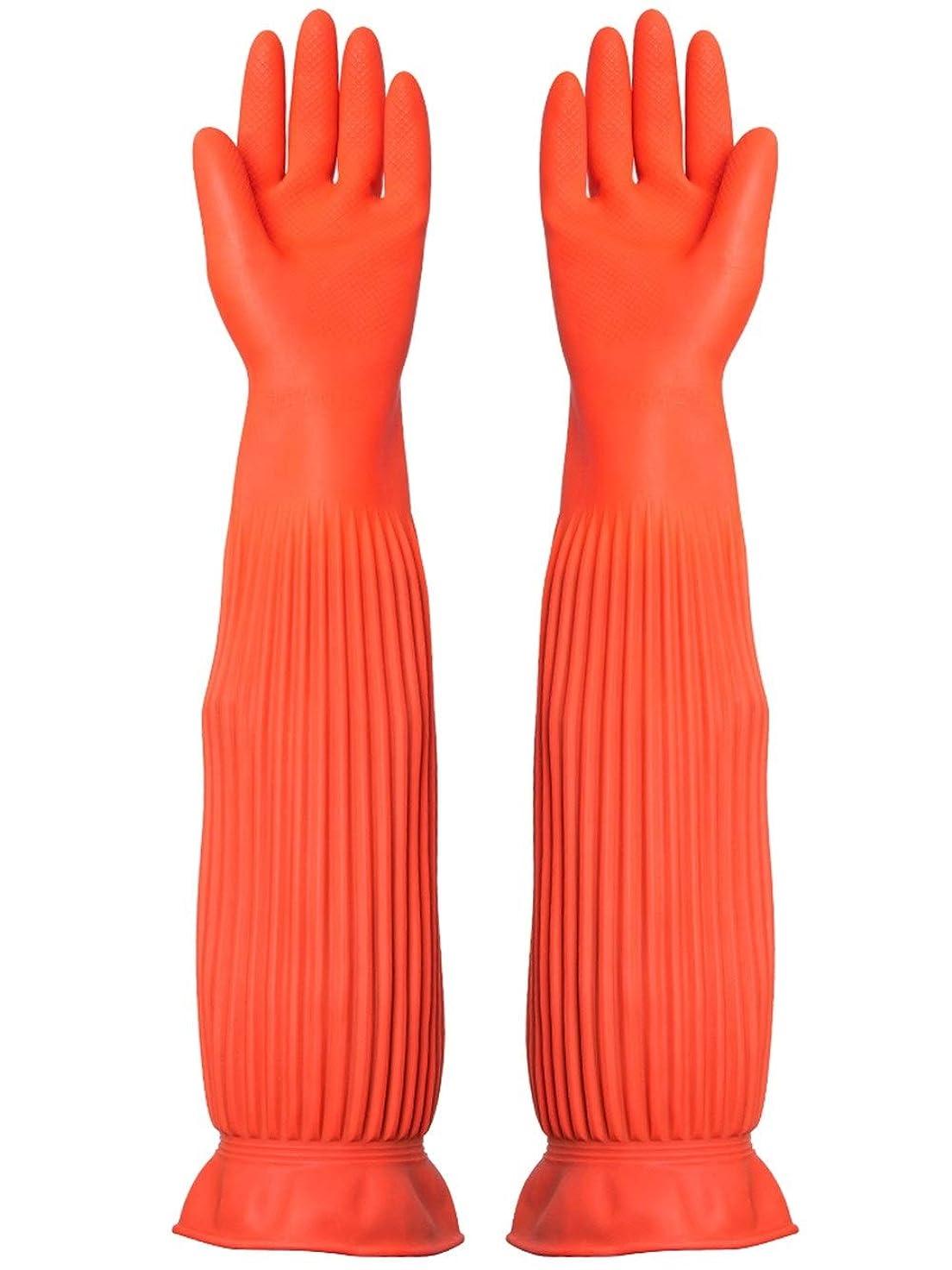 公爵夫人見つける混乱させるニトリルゴム手袋 労働保険手袋長い防水ゴム厚の耐摩耗性ゴム手袋、1ペア 使い捨て手袋 (Color : ORANGE, Size : M)