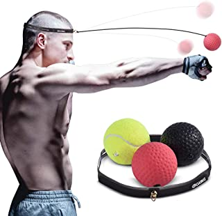 Boxing Reflex Ball, 3 Difficulty Training Speed Level Boxing Ball with Headband, Great Fight Trainer on String, Improving Speed Reactions,Agility, Punching Speed, Hand Eye Coordination Training