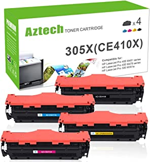 Aztech Compatible Toner Cartridge Replacement for HP 305A CE410A 305X CE410X CE411A CE412A CE413A HP Laserjet Pro 300 Color MFP M375nw M351a LaserJet Pro 400 MFP M476dw M475 M451 M476nw M476dn Printer