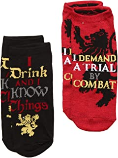 Game of Thrones Trial by Combat, I Drink and I Know Things 2-pack No-show Socks