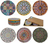 Totally Turkish Drink Coasters Set of 6 - Unique Mediterranean Design Coaster Set for Table Rustic Coasters with Non-Slip Cork Back - Cup Coasters Gift Sets (Galata)