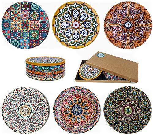 Set di 6 sottobicchieri con design mediterraneo, design unico, sottobicchiere rustico con retro in sughero antiscivolo, set regalo (Galata)