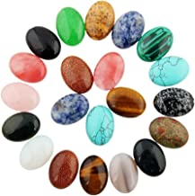 20pcs Cabochon Stone Oval Beads Semi-precious Gemstones Quartz Crystal 25x18mm Charms DIY Beads CAB Random Color Bulk for Jewelry Making(No Holes)