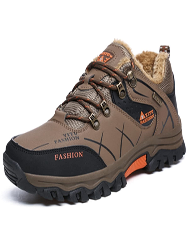 トレッキングシューズ 登山靴 メンズ  ハイキングシューズ 防水 防滑 ウォーキングシューズ アウトドア トラベル ハイカット キャンプ シューズ 暖かい靴 大きいサイズ クッション性/通気性  カーキ裏起毛 27.5CM