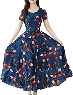 WDSWZ Women Dress Fashion Summer Grace Mid-Calf Short Sleeve Beach Floral Printing Dresses