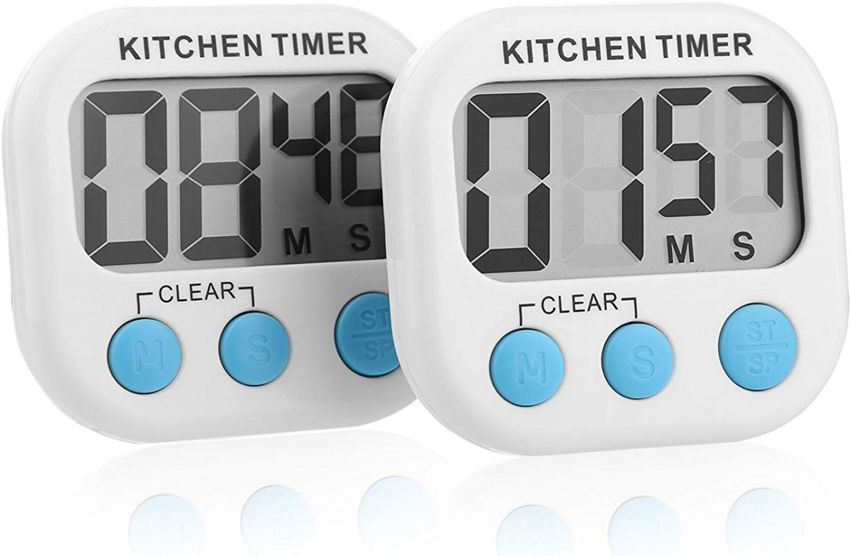 Sminiker Professional 2pcs Countdown Timer Magnetic Digital Kitchen Timer For Cooking Large LCD Display Batteries Included