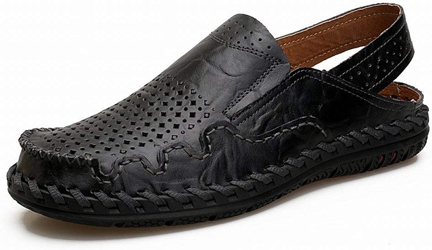 Oudan Fashion Non-slip Wearing Beach shoes Leather Male Sandals Double-Use Slippers (color   Black, Size   UK 6.5)