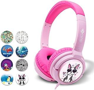 Skyaudio キッズヘッドホン 密閉型 子供用ヘッドフォン DIY 85dB音量リミット制御 3.5mmステレオプラグ採用 オーバーイーヤーヘッドホン 折りたたみ式イヤホン (Pink)