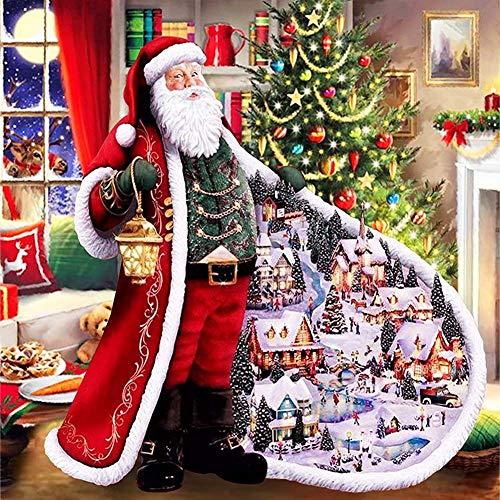 5D Christmas Diamond Painting Set,Santa Claus Snowman Tree Series DIY Full Drill by Number Kits, Sawpy Diamond Craft Arts Painting Kits for Home Decor Stitch Decoration