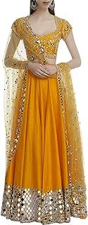 Orange Red Indian Handmade Mirror Lace work Lehenga Chaniya Choli Navratri Women wear By Designers 8446 SB