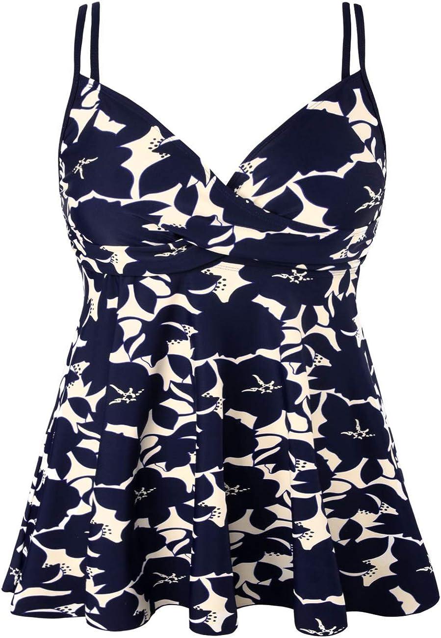 Hilor Women's Tankini Swimsuits Tummy Control Swim Top Retro Flowy Swimdress Twist Front Swimwear Top