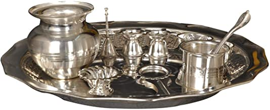 Nutristar German Silver Pooja Set, Silver Puja Set of 11 Pices