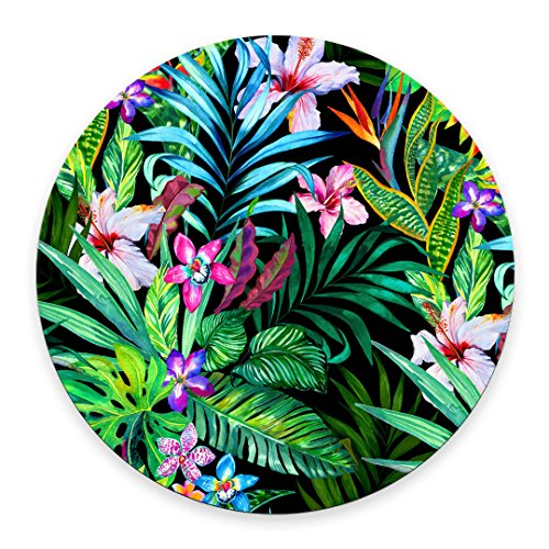 Colorful Tropical Leaf Mousepad Mat - Beautiful Design - Leaves Pink Blue Purple Green - Round Mouse pad