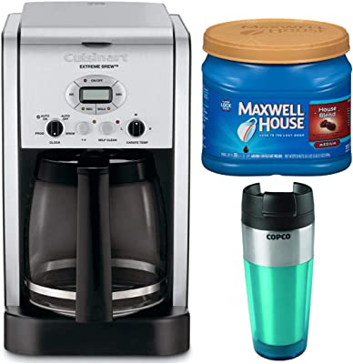 Cuisinart DCC-2650 Extreme Brew 12-Cup Programmable Coffeemaker with Medium Roast Ground Coffee and Tumbler Bundle (3 Items)
