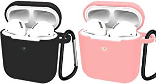 2 Pack Compatible with Airpods 2 Wireless Charge Case, 360 Protective Silicone Airpods Accessories Kit with Keychain,Protective Thicken Cover Soft Silicone Chargeable Headphone Case-Black+Pink