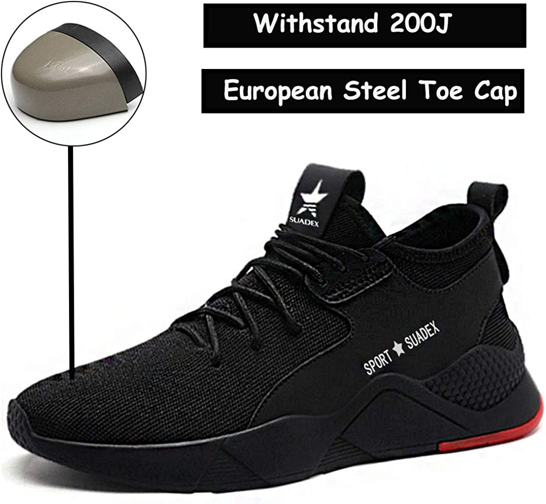 SUADEX Indestructible Steel Toe Work Shoes for Men Women Lightweight Puncture Proof Breathable Working Shoes