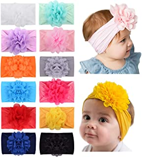 Baby Girls 12pcs Chiffon Flower Headbands Soft Nylon Hairbands Elastic Hair Accessories for Newborns Infants Toddlers and ...