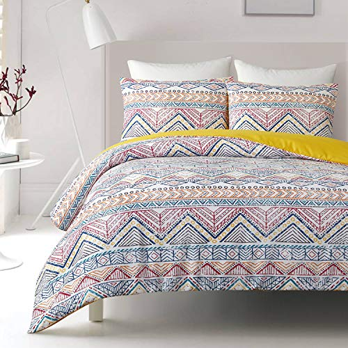 OSVINO Retro 3 Pieces Microfiber Bohemian Style Down Comforter Duvet Cover Set Soft Breathable Fade Resistant Ethnic Bedding Set, Colorful, King