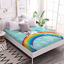 Jessy Home 1Piece Queen Size Cute Rainbow Unicorn Pattern Fitted Sheet for Children and Girls Gift Deep Pocket Cartoon Bedding Set Mint Green