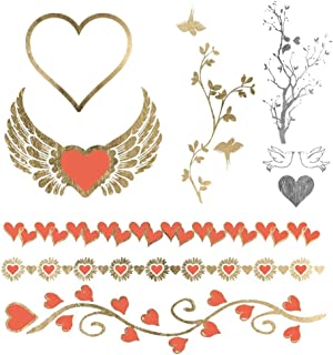 Festival Pack . Mon Amour - Metallic Gold & Orange Jewelry Temporary Tattoos - Love and Heart Theme
