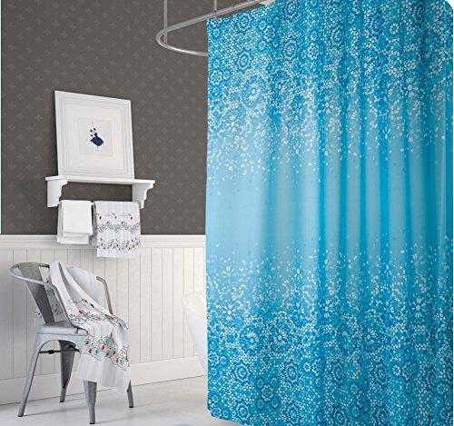 KS Handel 24 Textil DUSCHVORHANG BLAU Weiss MOSAIK 240x200 cm 240 BREIT X 200 cm HOCH! Shower Curtain BLAU Weiss