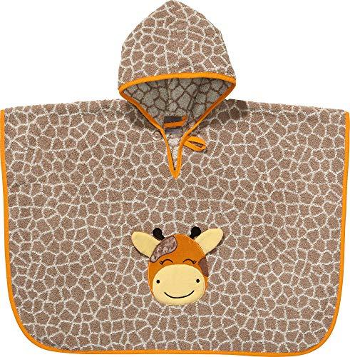 Erwin Müller Kinder-Poncho Giraffe Walk-Frottier Hellbraun/Natur Größe 50x70 cm - mit Kapuze und Knopf, weich, saugstark, strapazierfähig