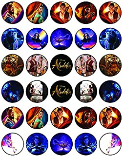 30 x Edible Cupcake Toppers – Aladdin 2019 Themed Collection of Edible Cake Decorations | Uncut Edible Prints on Wafer Sheet
