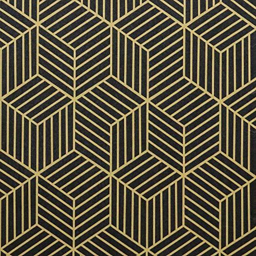 Timeet Selbstklebend Tapete Gold und Schwarz Abnehmbare selbstklebende Möbelfolie Aufkleber Wasserdicht Vinylfolienrolle für Schränke, Tische, Küchen Schlafzimmer Store Dekoration 45x500cm