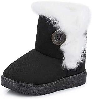Gaatpot Zapatos Invierno Niña Niño Botas de Nieve Forradas Zapatillas Botón Botines Planas para Unisex Niños 20-35