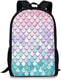 Colorful Mermaid Scale School Backpack, Vimmucir Classic Lightweight School Bookbag with Bottle Side Pockets for Girls High School and College, 17 Inches