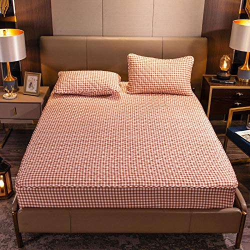 YFGY Anti-Allergy Anti-Bacterial Fitted Bed Sheet Super king,Thicked Fitted Bed Sheets, Protective Cover Non-Slip Mattress Cover For Bedroom Hotel Homestay grid 2 180cm×200+35cm