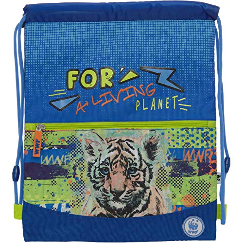 WWF Zaino Coulisse Con Tasca Blu