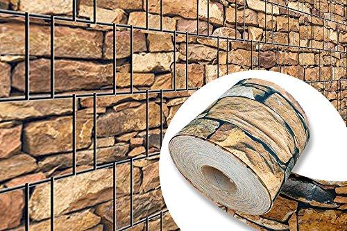 Ziegelstein - Bedruckter Sichtschutzstreifen für Stabmattenzaun inkls. Klemmschienen PVC frei