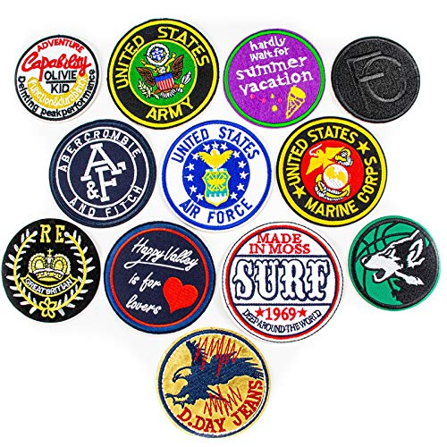 AGFXN - jiajutao 12 Pieces Iron On Patches, Embroidery Applique Patches Stickers Flowers Sew On Patches And Badges Fabric Repair Patch For Kids Clothes Jeans Jackets Shoes Backpacks T Shirt