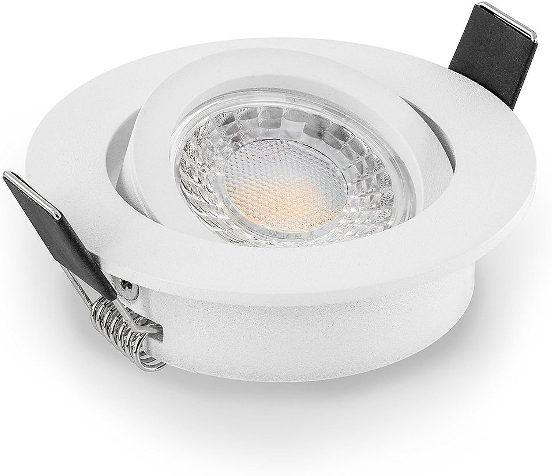 Led Einbaustrahler Set dimmbar & schwenkbar inkl. Einbaurahmen wei 230V 7W GU10 warm-wei Decken-einbau-leuchte-lampe-strahler-beleuchtung 50W Ersatz (3000K 10er Set)