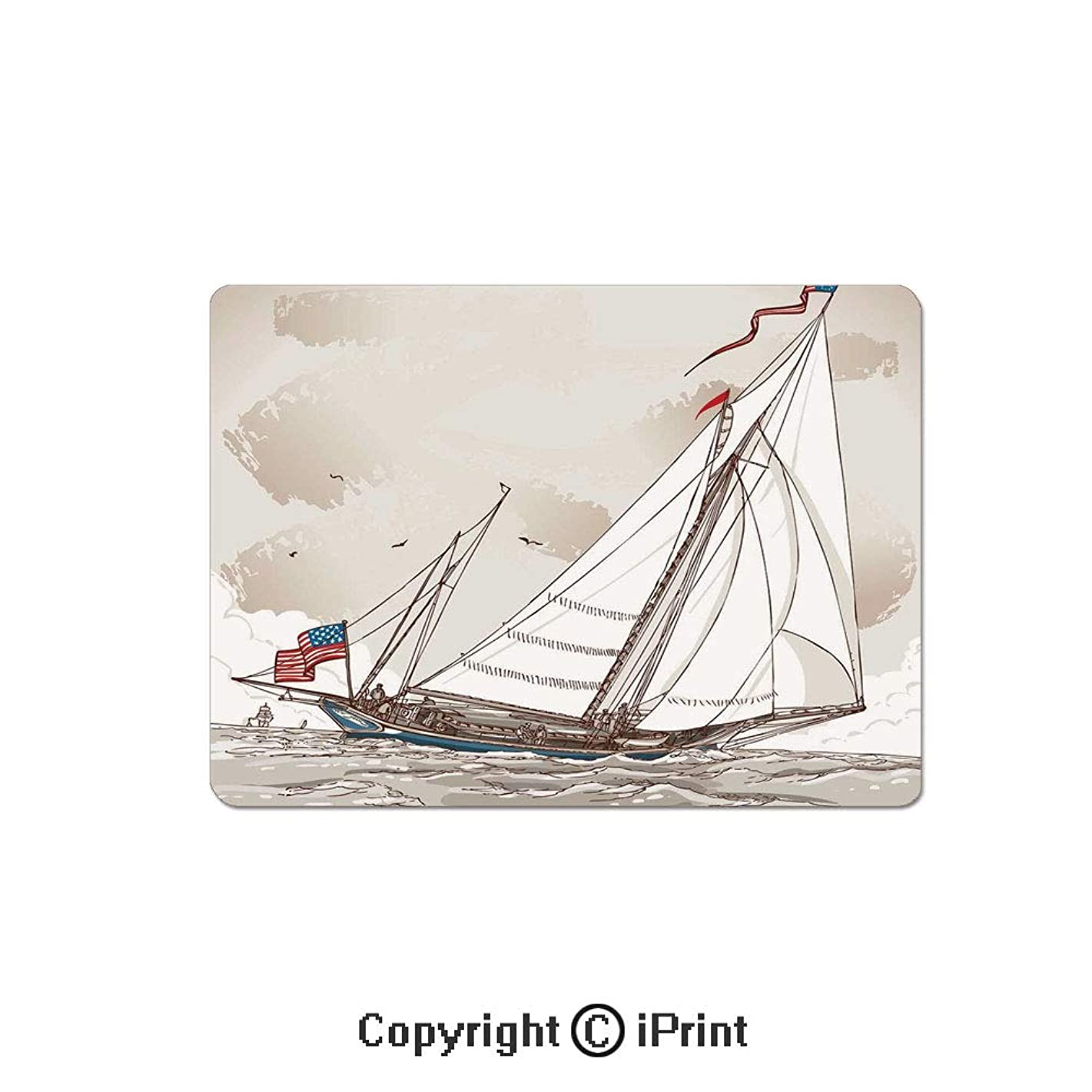 Anti-Slip Mouse Pad,Illustration of a Retro View of Antique American Yacht with Flags Ocean Mouse Mat,Non-Slip Rubber Base Mousepad,7.9x9.5 inch,Light Grey Tan White