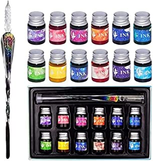 Glass Dip Pen Ink Set,Calligraphy Pens Set for Beginners,Rainbow Crystal Pen with 12 Colorful Calligraphy Ink for Art,Writ...