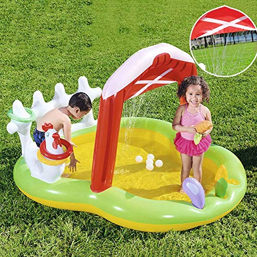 Kids Inflatable Mega Water Park Bouncy Castle, Inflatable Bounce House Pool Water Slide Climbing Wall, and Pool Area
