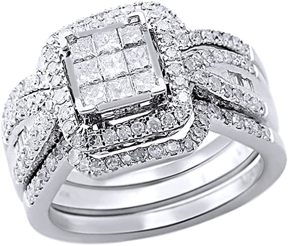 AFFY Princess & Round Cut White Natural Diamond Bridal Set Ring in 10k Solid Gold (1 Cttw)