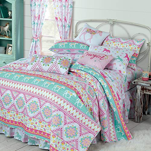 Hot Pink, Turquoise, and Pale Pink Run Across Horse Reversible Quilt.Colorful Mixture of Trotting Horses, Diamonds, Floral and Stripes.Full